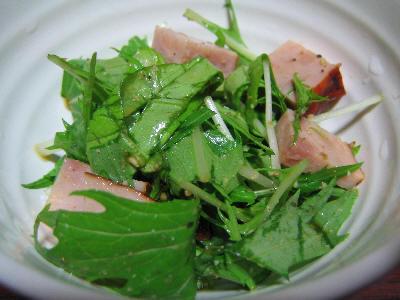 水菜とサラダ菜とハム和え