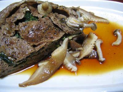 ラム肉の小松菜はさみ焼き