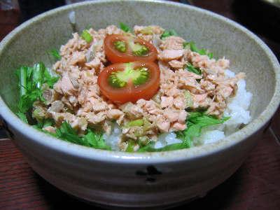 鮭と水菜の丼