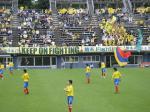 栃木SCのサポはホームでもメインスタンドに陣取って、より観客に近いところでアピール。