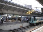 四国の玄関・高松駅。上野駅地平ホームなどと同じく行止り式のホーム。