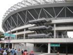 カシマサッカースタジアム到着。W杯開催時に整備された国内有数の規模のサッカー専用スタジアム。でかくてきれい。