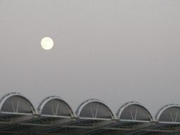 等々力陸上競技場から見た、夕方の満月。