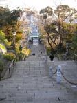 池上本門寺の本堂につながる石段。ここを駆け上がってトレーニングする人も。