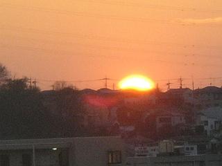 自宅近くから見た夕日。
