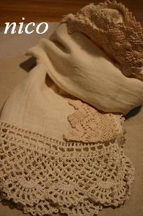 Wガーゼのふち編みストール