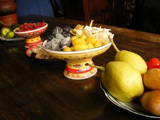 テーブルの上のフルーツ達