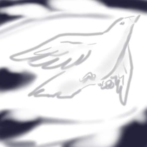 空に羽根が雲に夜空が