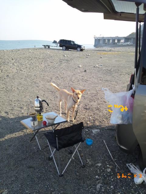 海岸で朝ごはん