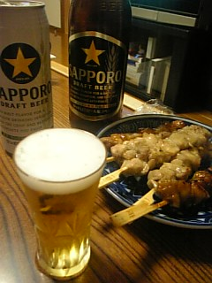 サッポロビールと焼鳥