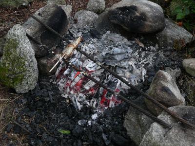 BBQのおしまいに焼いたニジマス