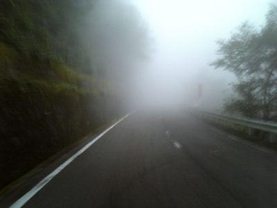 霧の、明神、三国峠を爆走