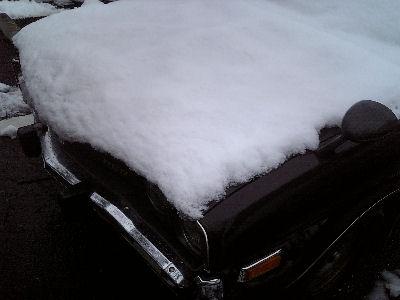 雪をかぶったとんがったボンネット