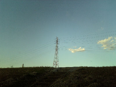 冬の送電線