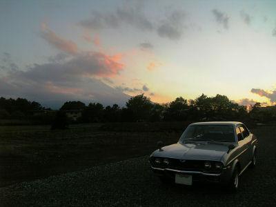 マツダルーチェと富士山と夕景