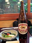 アサヒ、キリン、サッポロと、ビンビールは3種類。でも、生ビールはナイ。残念…