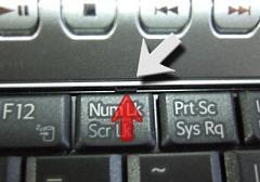 [Num Lk]キーの上のツメを外します。