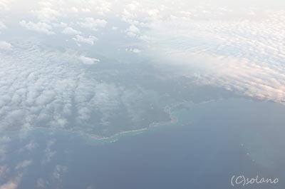 JAl機内から見た沖縄本島