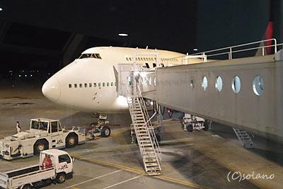 JAL(日本航空)B747-400D。新千歳空港