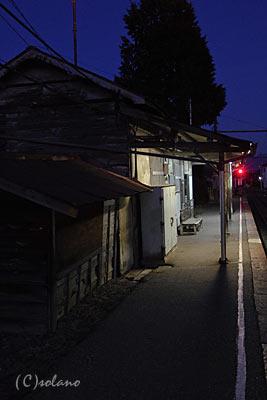 夜の森口駅(アルピコ交通(松本電鉄))