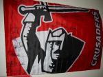 サインをしてもらったクルセイダーズの旗