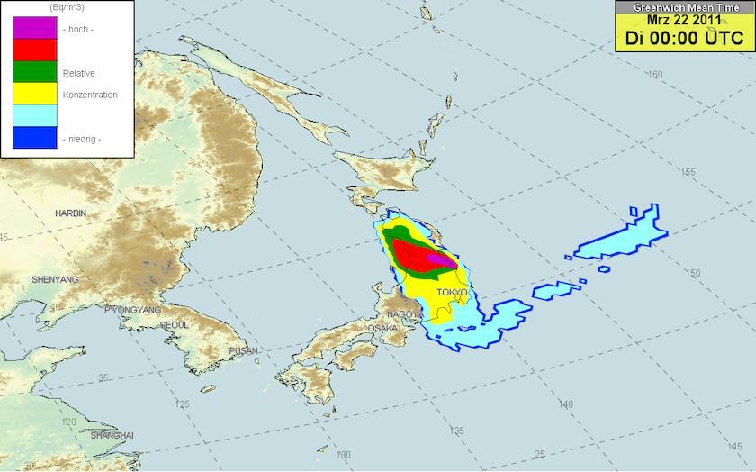 ドイツ気象庁 放射能マップ 22日