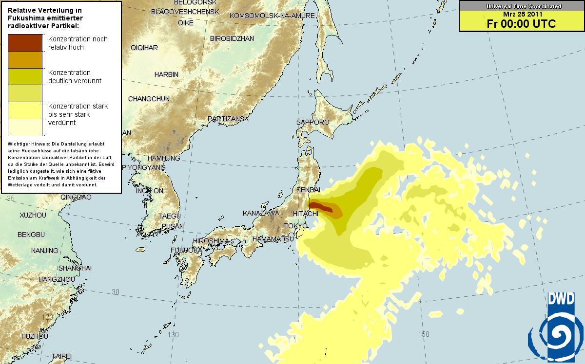ドイツ気象庁 放射能マップ 24日
