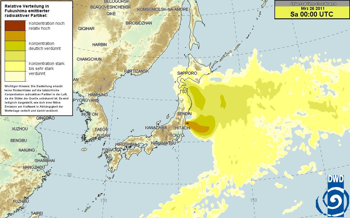 ドイツ気象庁 放射能マップ 23日