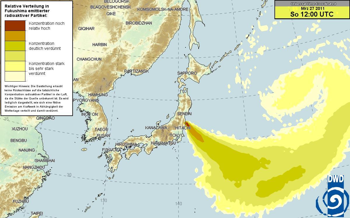 ドイツ気象庁 放射能マップ 26日