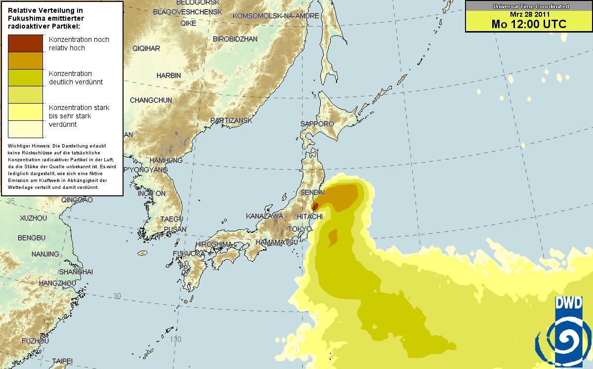 ドイツ気象庁 放射能マップ 27日