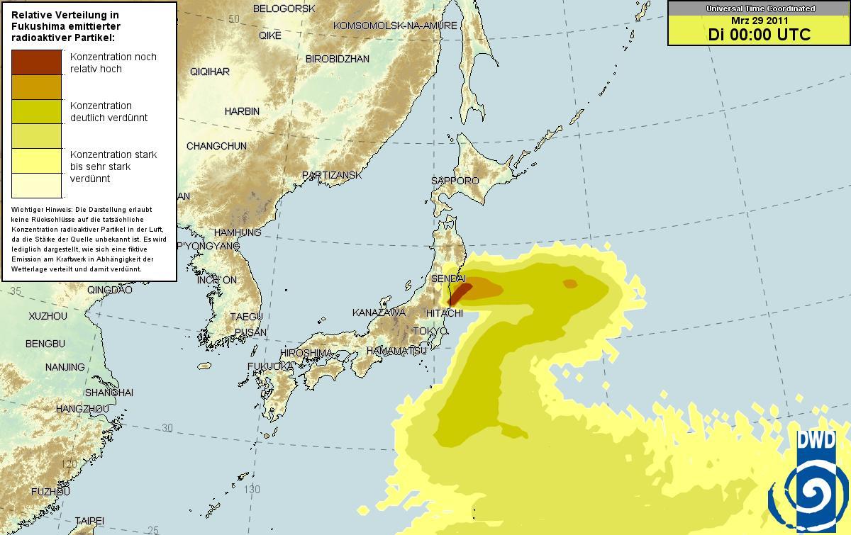 ドイツ気象庁 放射能マップ 28日