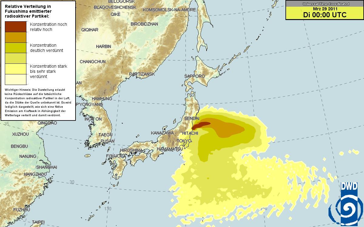 ドイツ気象庁 放射能マップ 29日