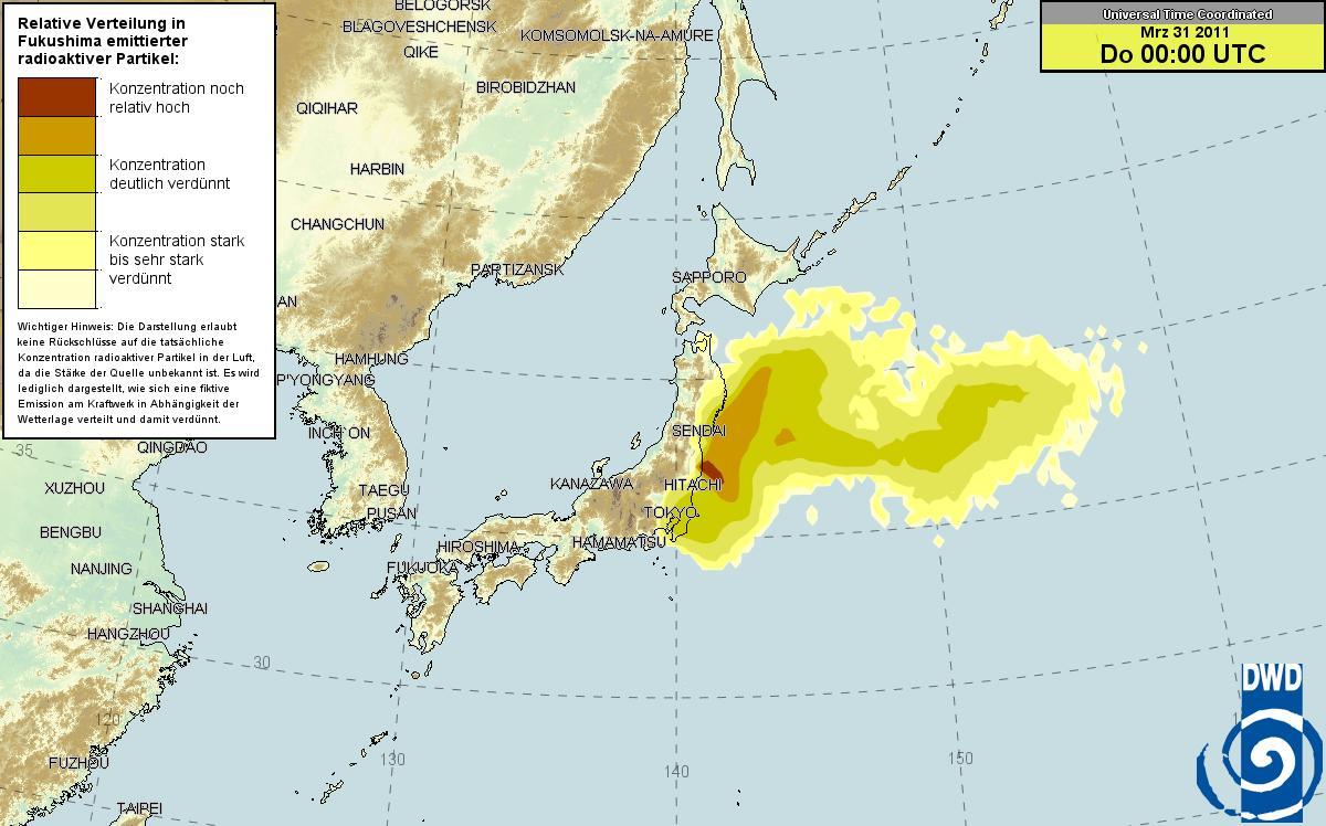 ドイツ気象庁 放射能マップ 30日