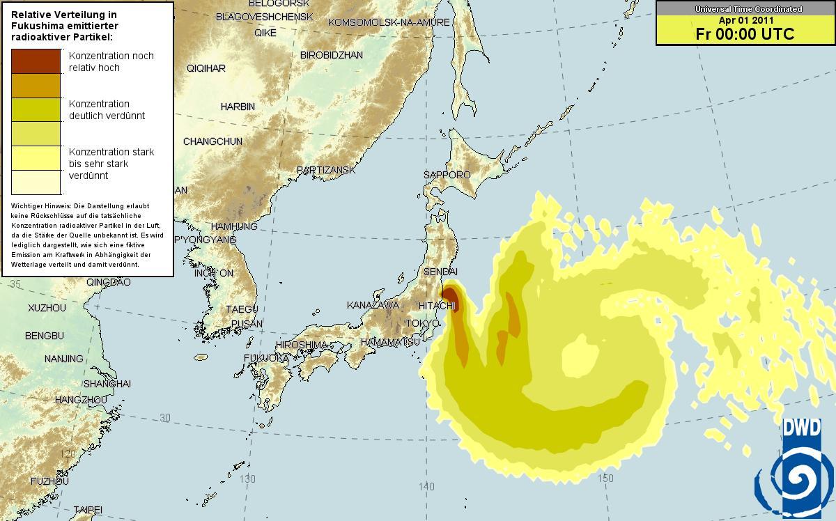 ドイツ気象庁 放射能マップ 31日