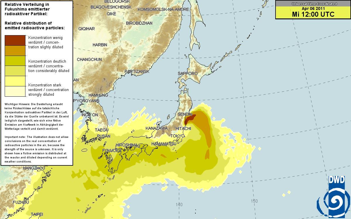 ドイツ気象庁 放射能マップ 4.5