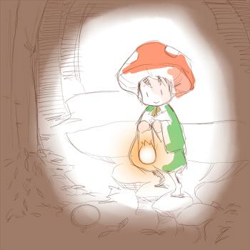 キノコ帽子の子