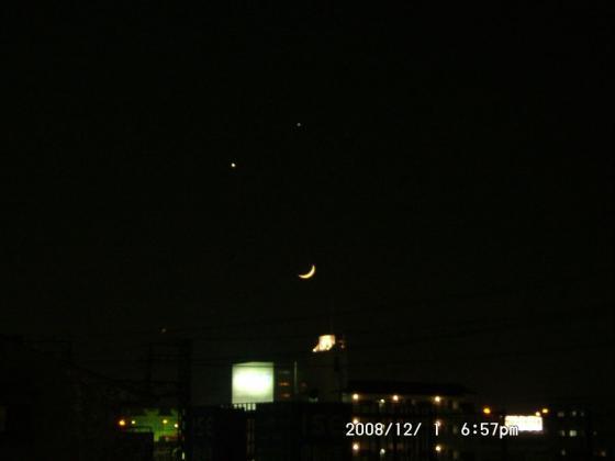 67 ベランダにて 金星・木星・月