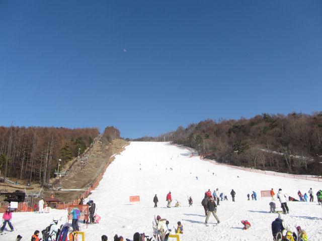 スキー場朝