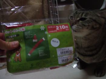 ミオ、サンタ服の袋をまず見た13-4144_幅350