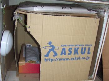 クロの車庫白箱寝床、アスクル蓋付正面、6月1日3-0021_幅350
