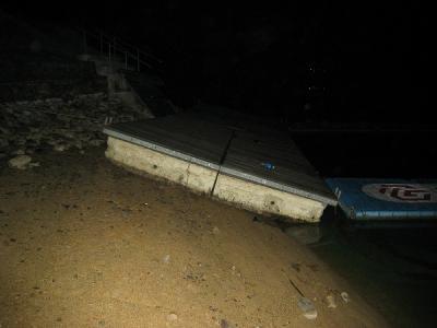 カヌー乗り場減水