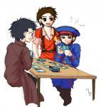 カードゲームをする子供たち。