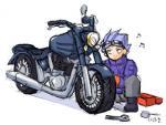 バイクをイジるイーグル。