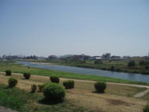 多摩川だ!
