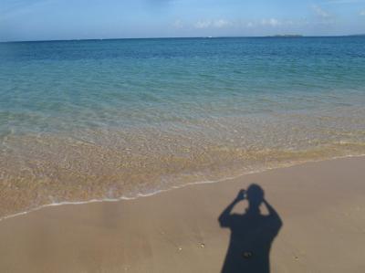ビーチで影