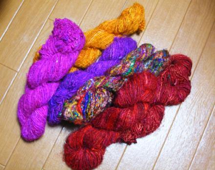 サリーシルクの裂き布糸