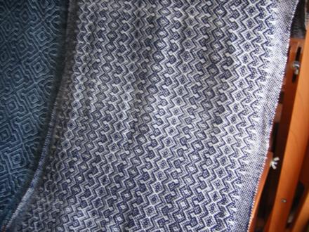 6枚綜絖綾織り 紺×白