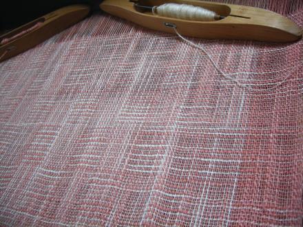 シルク網代織りのショール、織り途中!