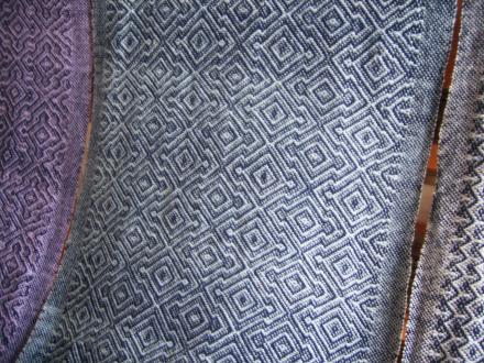6枚綜絖綾織り 紺×水色
