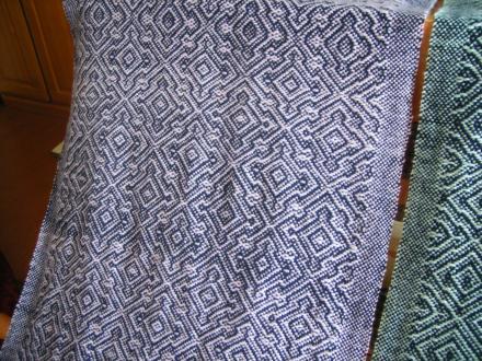6枚綜絖綾織り 紺×パープル